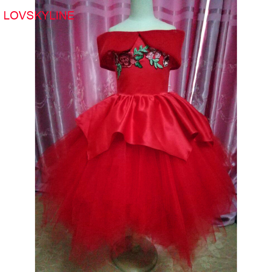 Satin Organza   Flower     Girl     Dress   Red Embroidery Princess Tutu Party Wedding for   Girls   Christmas Style Sweet Kids   Dress