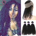 7A Raw Indian Kinky Curly Hair 360 Lace Frontal With Bundles Kinky Curly With Closure 4pcs Bundles With 360 Lace Frontal Closure
