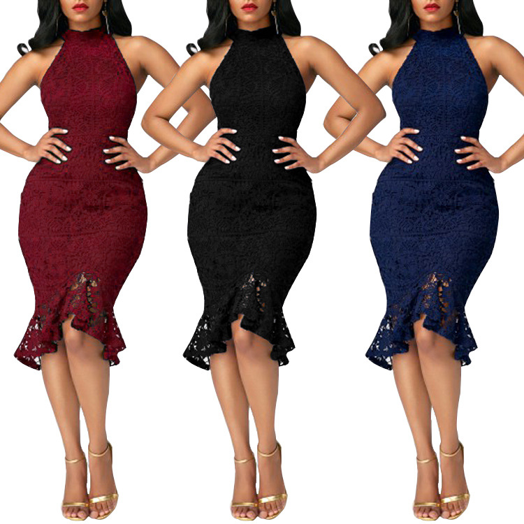 Womens Lace Lined Ladies sleeveless Mermaid Lace Dress  Full Zip Party Elegant Women Hot Selling Summer Party Dresses
