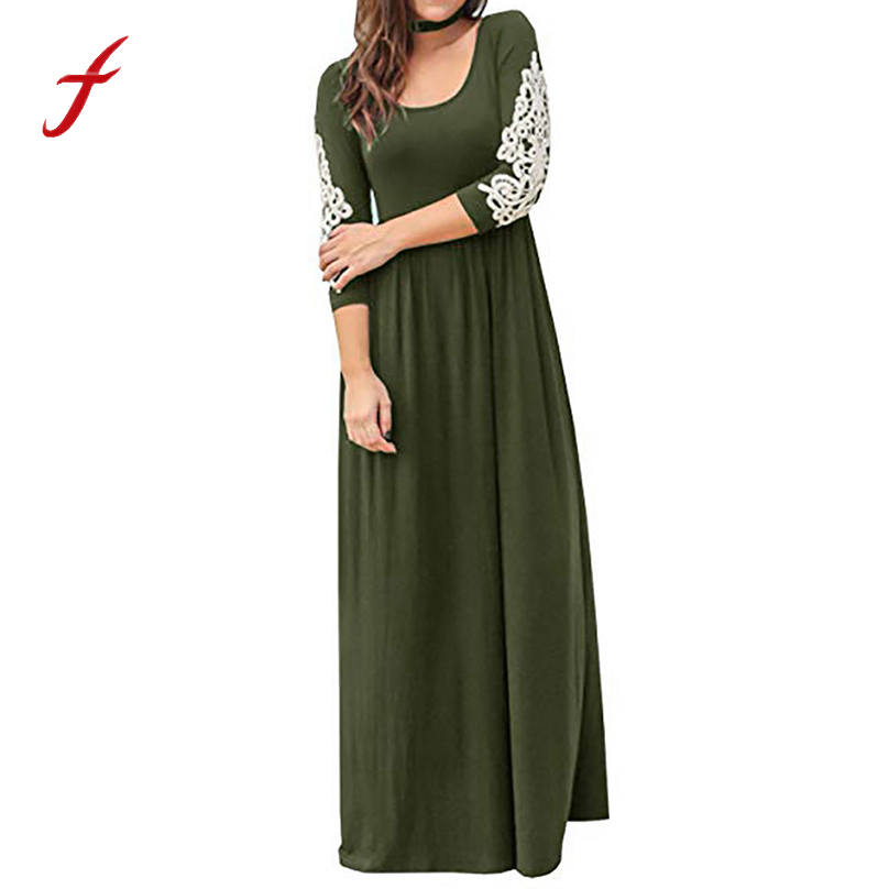 women clothing 2020 newest Women Solid Applique floor-length Three Quarter Sleeve High Waist Boho Long Dresses roupas Femininas