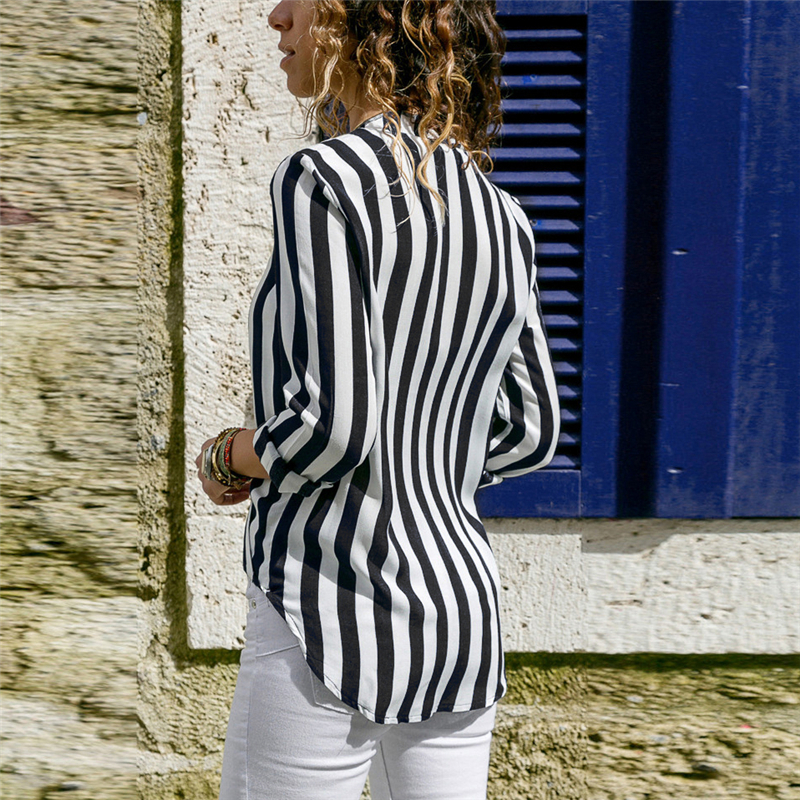 Women Striped Blouse Shirt Long Sleeve Blouse V-neck Shirts Casual Tops Blouse 57