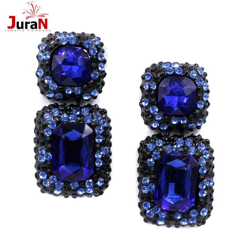 JURAN Women Fashion Square Crystal Earrings OL Style 6 Colors Earrings Women Charm Accessory Fashion Jewelry Wholesale F1309