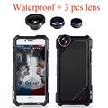 """Choque sujeira à prova d' água de metal de alumínio de luxo phone case para iphone 5 5s se 6 6 s 4.7 """"além de 5.5"""" 3 em 1 micro lens + lente de vidro Temperado"""
