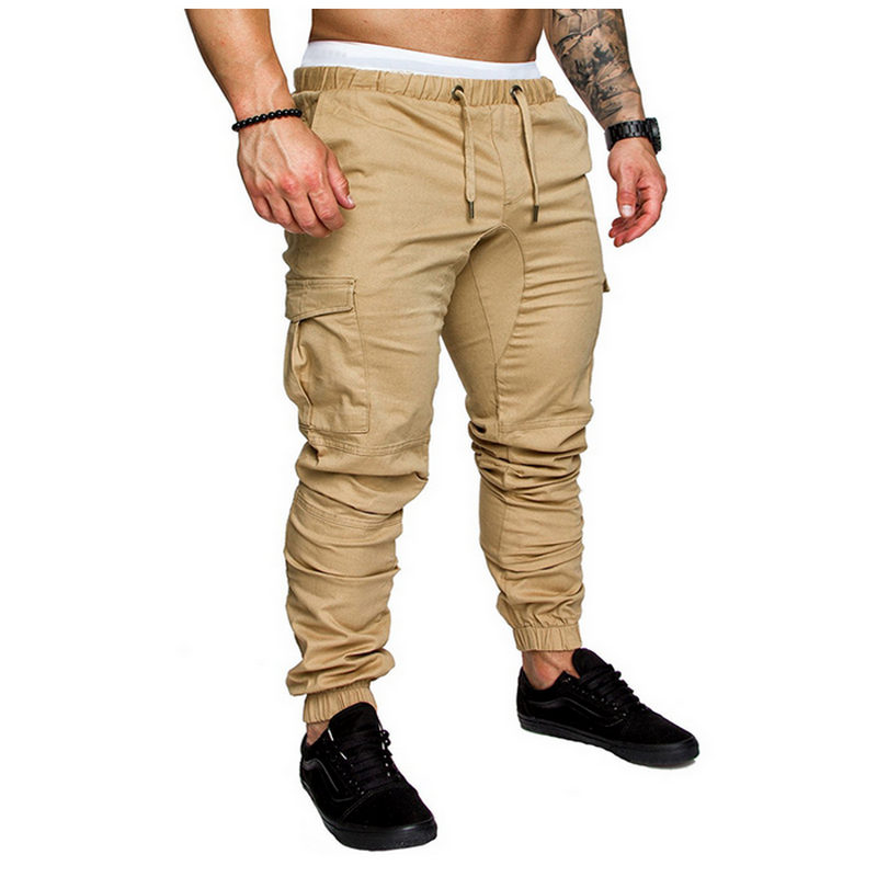 Men Pants 2018 New Fashion Brand Tooling Pockets Joggers Pants Male Trousers Casual Mens Joggers Solid Pants Sweatpants 4xl