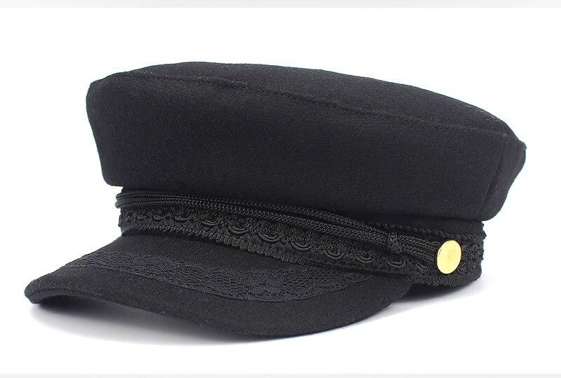 Primavera otoño Newsboy sombreros para mujeres encaje cinturón botón  militar gorras ace sombreros negros coreanos literarios británicos  militares sombreros ... b5e4c624421