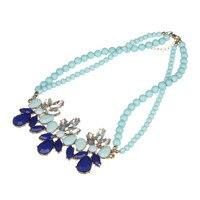 Модные синие бисером Цепочки и ожерелья колье с смолы цветок Подвески для Для женщин жена Свадебная вечеринка Jewelry подарки f10026