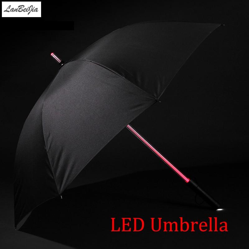 7 цветов LED Звездные войны зонтик Гольф зонтик дождь Для мужчин Для женщин свет вспышки Ночь защиты автомобиля фонарик прозрачный зонтик