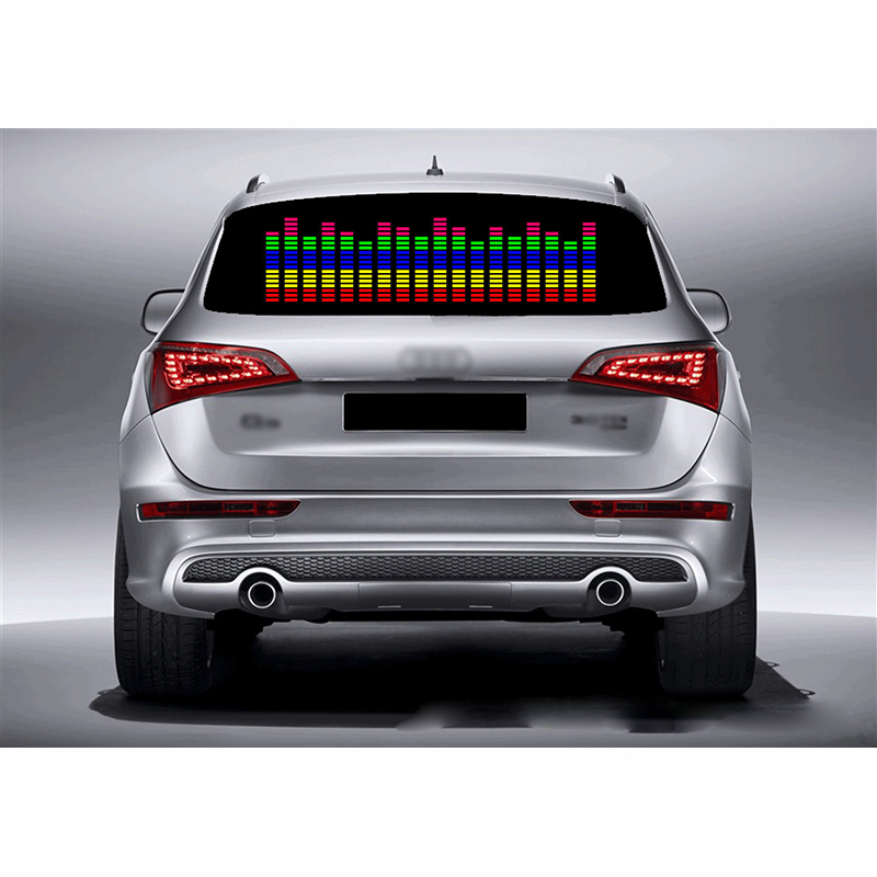 DUU 90*25cm Car Sticker Music Rhythm LED Light Car Rhythm Flash Lamp Sound Activated Equalizer Red With Yellow Blue Green