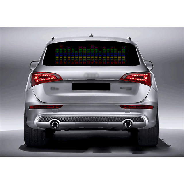 DUU 90*25cm Car Sticker Music Rhythm LED Light Car Rhythm Flash Lamp Sound Activated Equalizer Red with Yellow Blue Green