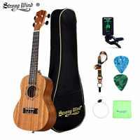 Fuerte viento Ukelele 23 pulgadas concierto Ukelele Rosewood guitarra acústica Mini Hawaii Kits completos Ukelele Guitarra para principiantes niños