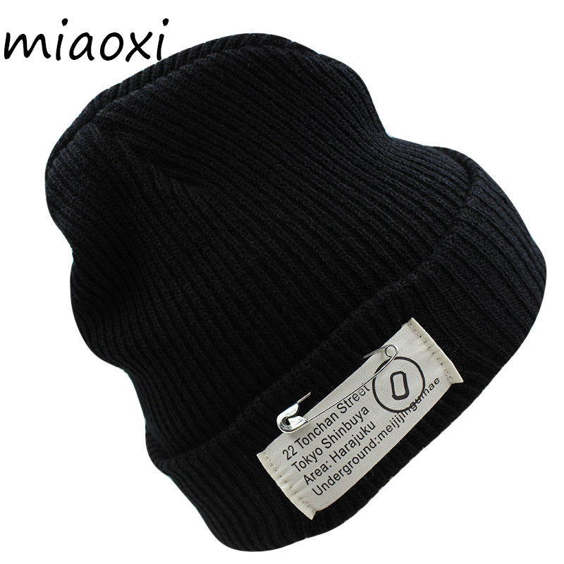miaoxi Winter Hat For Women Fashion Knit Pin Warm Beanies Girl Casual Solid Letter Adult Caps Snow Cap Hip-Hop Knitted Bonnet miaoxi women autumn hat two used caps knitted scarf adult unisex casual letter beanies warm autumn beauty skullies hat girl cap