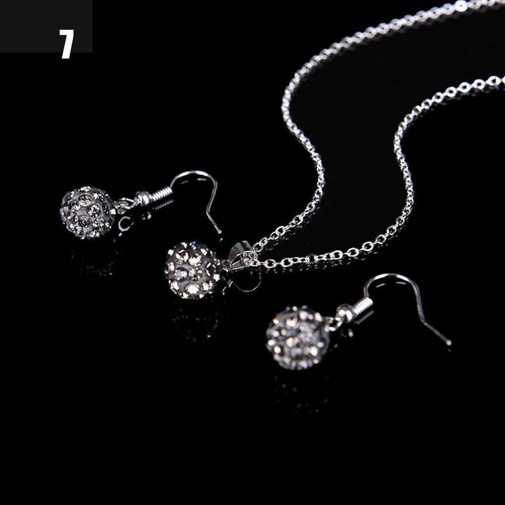 12 Colors Women Jewelry Sets Retro Tibetan Silver Turquise Crystal Pendant Ladies Necklace Bracelet Earrings Set