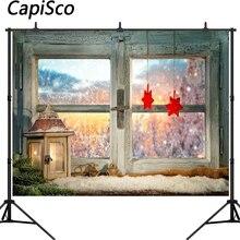 Capisco photography background Christmas wood window Snow winter gifts light red star backdrop Photo background studio стоимость