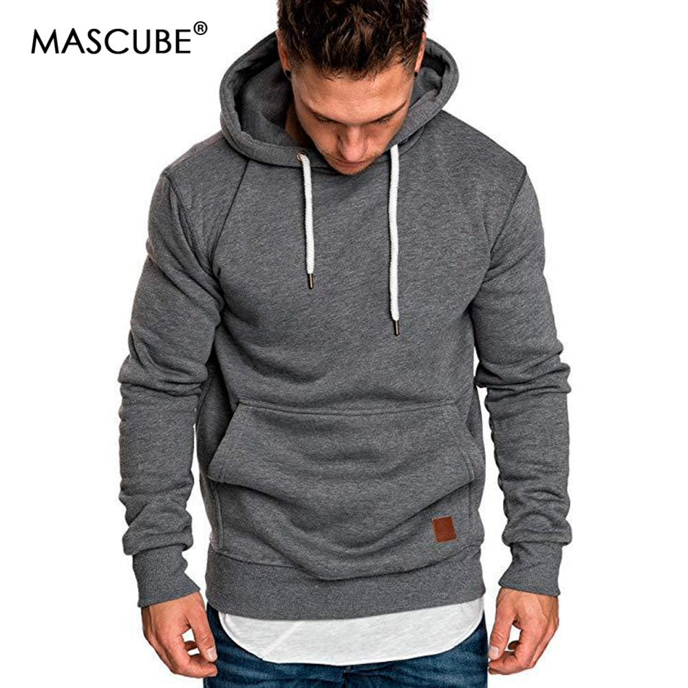 Mascube New Autumn Winter Fashion Color Hoody Male Large Size Warm Fleece Coat Men Brand Sweaters Hooded Sweat Shirts