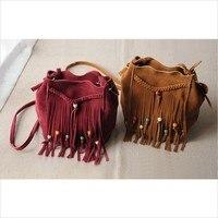 Newest Real Leather Shoulder Bag Fringe Tassel Festival Boho Chic Indian Hippie Gypsy Tribal Bohemian Ibiza Bucket Bag