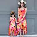 Family fitted summer new bohemian beach dress harness Dresses For Girls And Mother floral cool casual family matching clothing