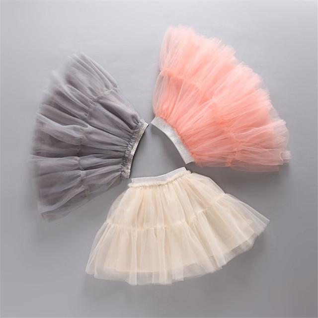 2016 Niñas Mini Faldas de Verano vestido de Bola Del Banquete de Boda de Princesa Estilo de La Muchacha de Malla Sólido Falda Nueva Moda Ropa Niños Ropa