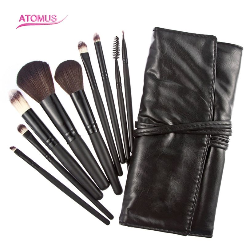 HOT SALE!! 9Pcs Professional Soft Pony Hair Makeup Brush Set With A Leather Brush Holder Cosmetic Maquiagem Blush Brush Tool hot sale professional ipl handpiece