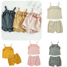 Newborn Baby Girl Summer Clothes Solid Color Ruffle Vest Tops+Short Pants 2pcs Outfits Sunsuit Set