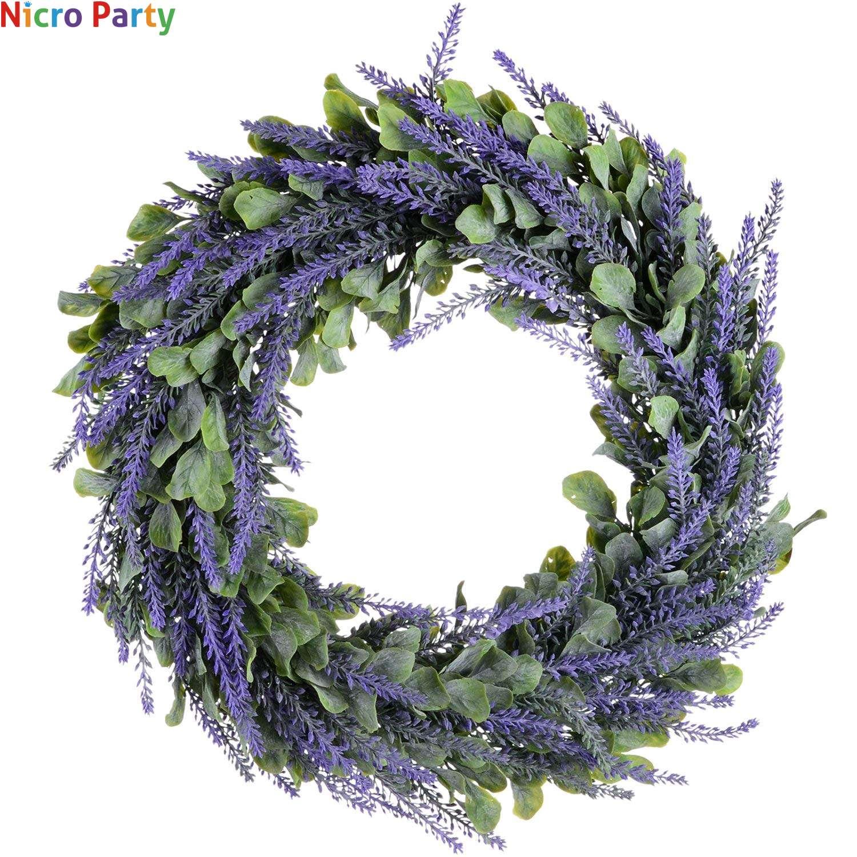 Nicro Artificial Wreath Door Wreath  Lavender Spring Wreath Round Decoration Accessories Decor For Home #Art21