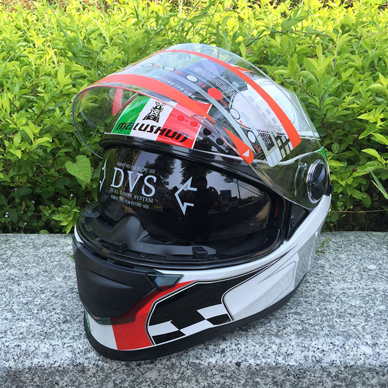 Red green lines double lens Motorcycle crash helmet High Quality Flip up Electric motorbike Full face motorcycle helmet 2017 new knight protection gxt flip up motorcycle helmet g902 undrape face motorbike helmets made of abs and anti fogging lens