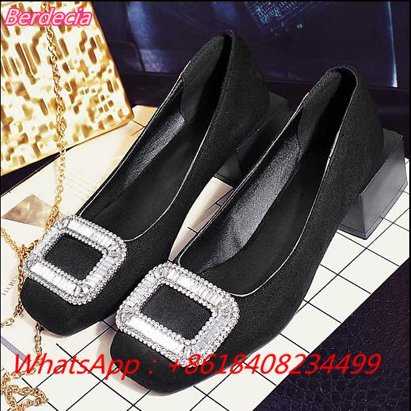 ФОТО Slip-on Shallow Women Pumps Bling Bling Crystal Med Heels Shoes Women Metal Decoration Solid Square Heels Women Wedding Shoes