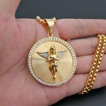 Colar com pingente de anjo asas de hip hop, colar feminino com pingente de anjo e gelado, dourado de aço inoxidável, redondo, joias para homens e mulheres
