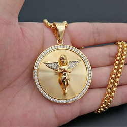 Hip Hop Iced Out Angel Wings Pendant Necklace For Women Men Gold Color Stainless Steel Round Necklace Bling Jewelry