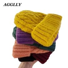 Для женщин шапочки Девушка Роскошные зимняя шапка конфеты цвета шапки толстые теплые капот Beanie мягкий вязаный хлопок твист узор шапки