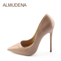 ALMUDENA Brand Stiletto Heel Pumps Nude Patent Leather Dress Shoes Concise Pointed Toe 12cm High Heel
