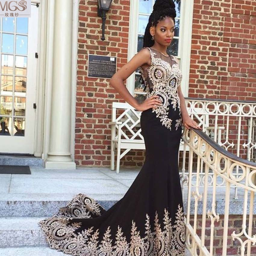 Sexy Hot Selling 2016 MGS Black Mermaid Gold Appliqued Lace Beaded  Floor-Length Prom Dresses - Online Get Cheap Black Gold Lace Prom Dresses 2016 -Aliexpress.com