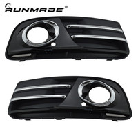 1Pair Chrome Sticker Bumper Grill For 2013 2014 Audi Q5 Front Lower Grill Glossy Black Finished