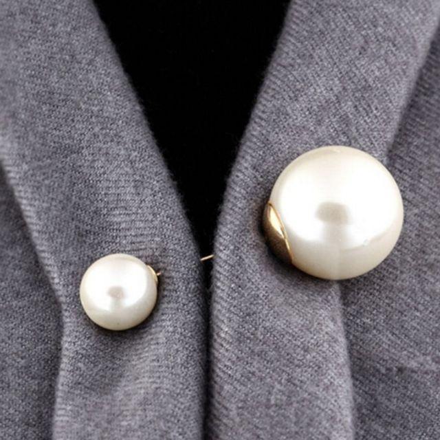 Di nuovo Modo 1 Pc Donna/Ragazza Imitazione Della Perla Spilla Classico Accessori di Fascino di Alta Qualità Semplice Doppio Perle Spille Del Tutto-Fiammifero