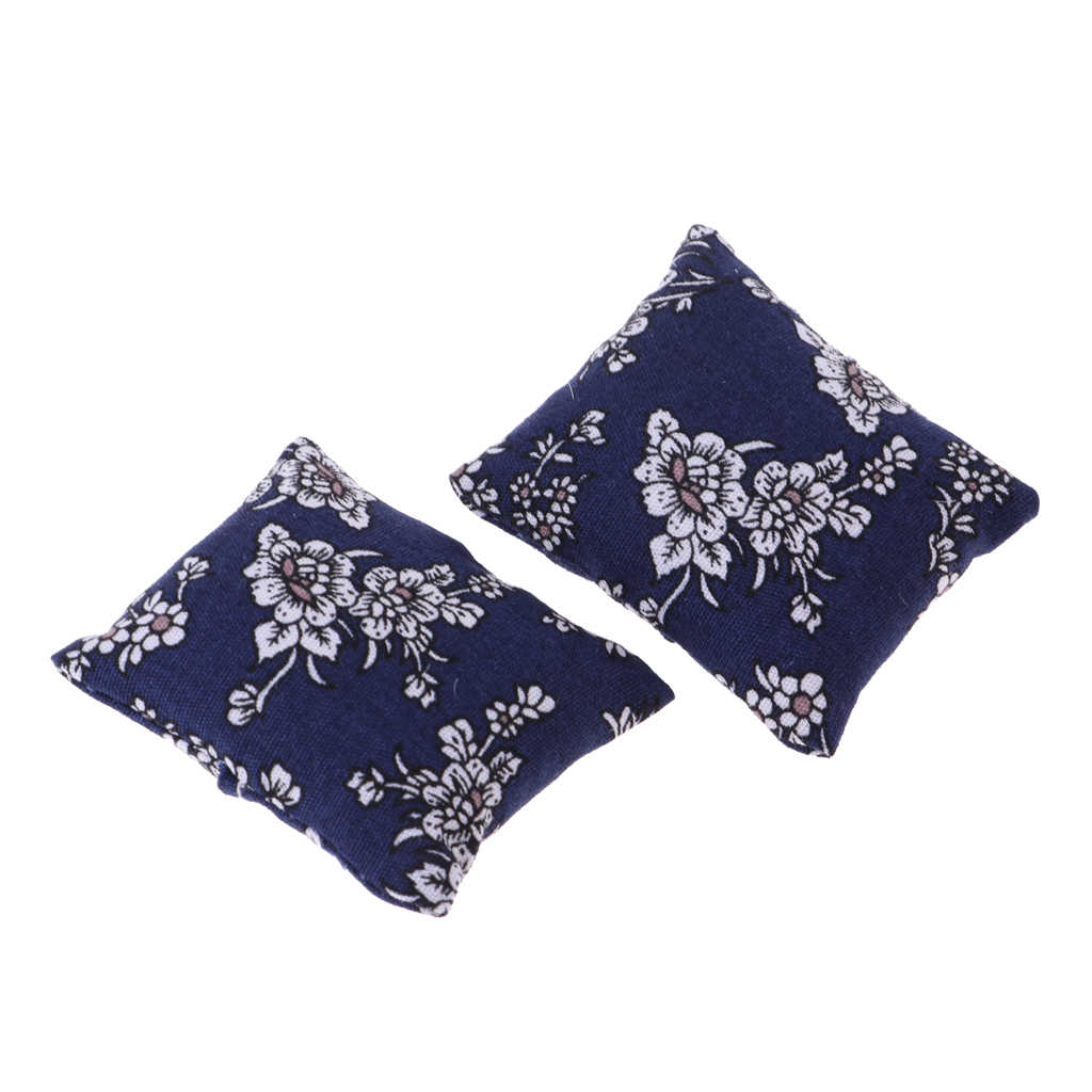 1//12 Scale Blue Floral Pillow Cushions Set for Doll House Sofa Bed Accessory