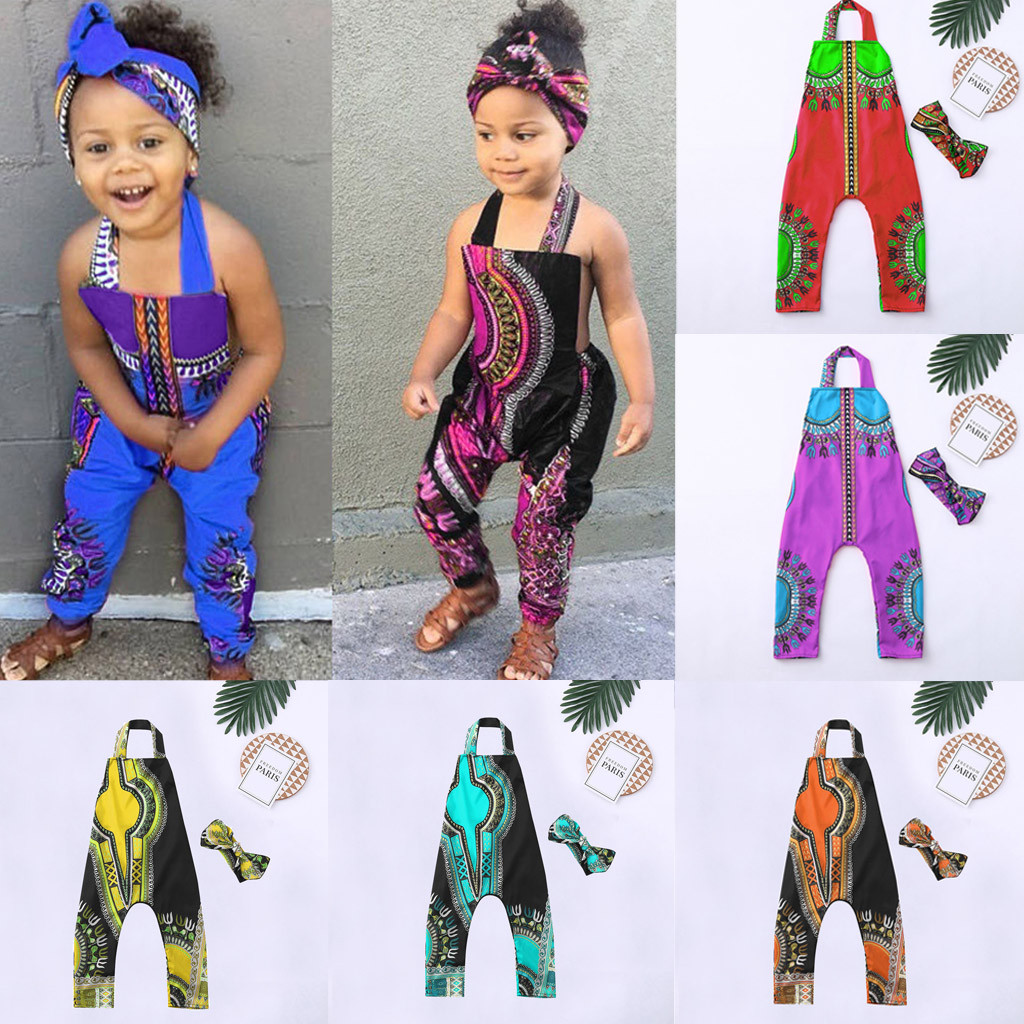 Baby Girl Clothes Toddler Kid Baby Girl African Print Sleeveless   Romper   Hair Band Jumpsuit Clothes Baby Girl   Romper