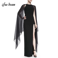 2016 Autumn Winter Newest Elegant Graceful Mesh Batwing Silk Cape Sleeve Long Dress Vintage Maxi Celebrity