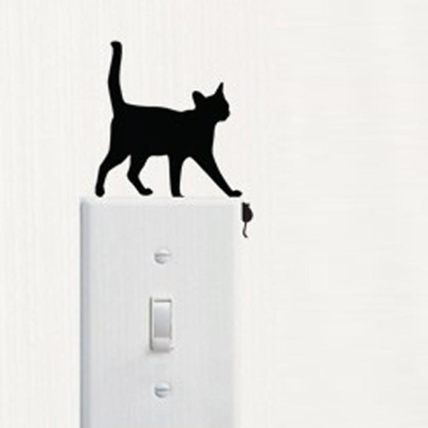 Room Window Wall Decorating Switch Vinyl Decal Sticker Decor Cartoon Qute Cat