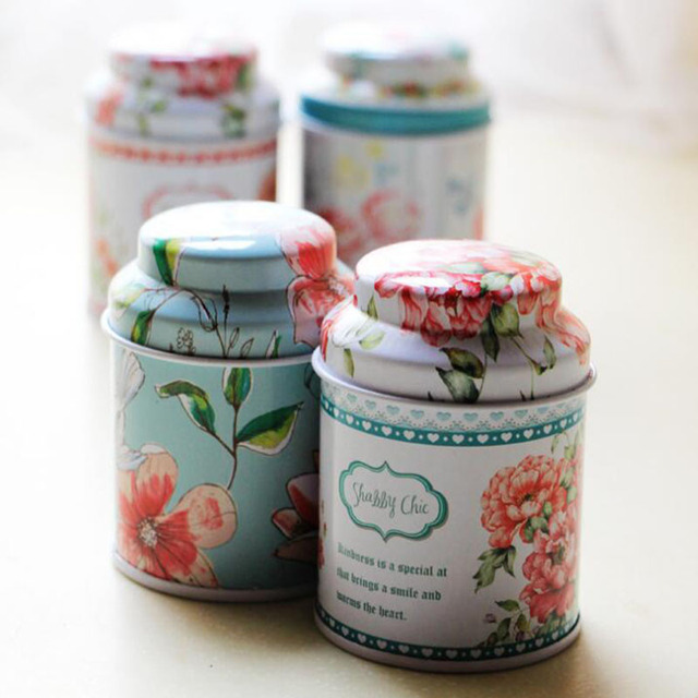 Candy Jar Tin Cans Organizer Candy Storage Box Metal Flower Pots Tea