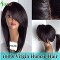 Brasileño peluca llena del cordón del pelo humano recto peluca del frente del cordón con completa de bang largo recto flequillo peluca de pelo humano para las mujeres negras