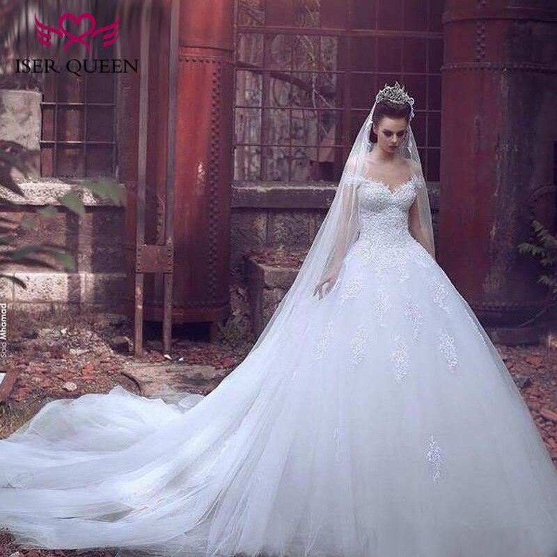 Dubai Vintage Lace Wedding Dress Ball Gown Court Train Bridal Formal Dress Cap Sleeve Plus Size Appliques Wedding Dresses w0130