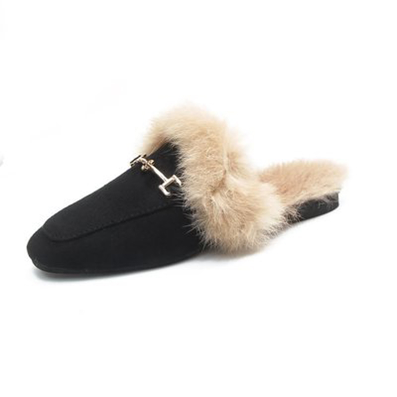 2018 Real Solid Zapatos De Mujer Pantufas Pantufa Womens Furry Slippers Ladies Cute Fox Hair Fluffy Winter Warm for Hot 57