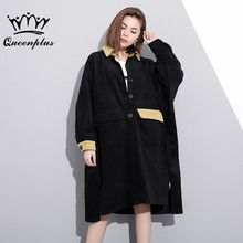Queenplus 2017 new winter lapel long sleeve hit color black split joint loose big size Corduroy jacket women coat fashion tide(China)