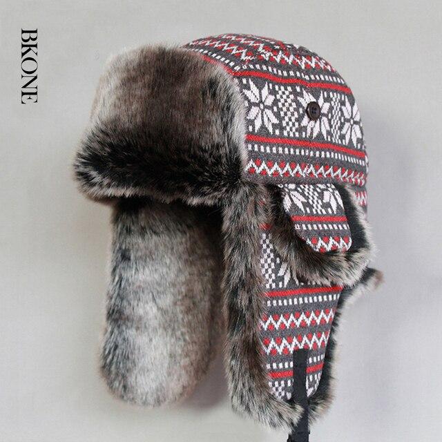 b5a688b2cf1 Retro Russian Ushanka Military Hat Winter Warm Faux Fur Dad Hat Earflaps Bomber  Hats Snowflake Trapper Aviator Cap