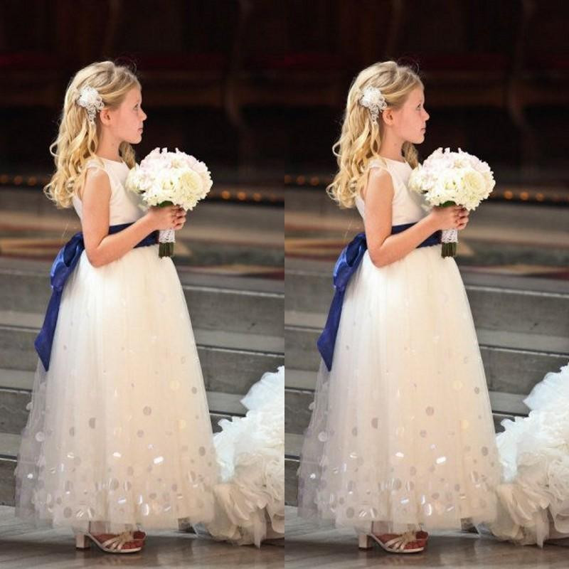 Fashion Tulle Floor Length A Line Blue Sashes   Flower     Girl     Dresses   for Wedding Party Pageant Custom Made