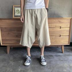 2019 Sinicism мужские дикие шаровары с низкой слонкой брюки летние мешковатые льняные хлопковые брюки мужские дикие ноги свободные