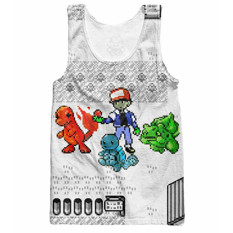 Pokemon   Tank     Tops   Pokedex Anime Character Bulbasaur Charmander Squirtle Sleeveless Striped Vest Jersey Summer Style Men Shirt