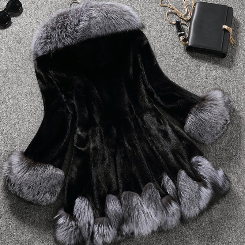 Faux Avec Taille Luxe 6xl De Manteau Imitation Femmes Fourrure Chapeau noir Beige Plus Gris Veste Blanc Long La Vison qqCrYZw