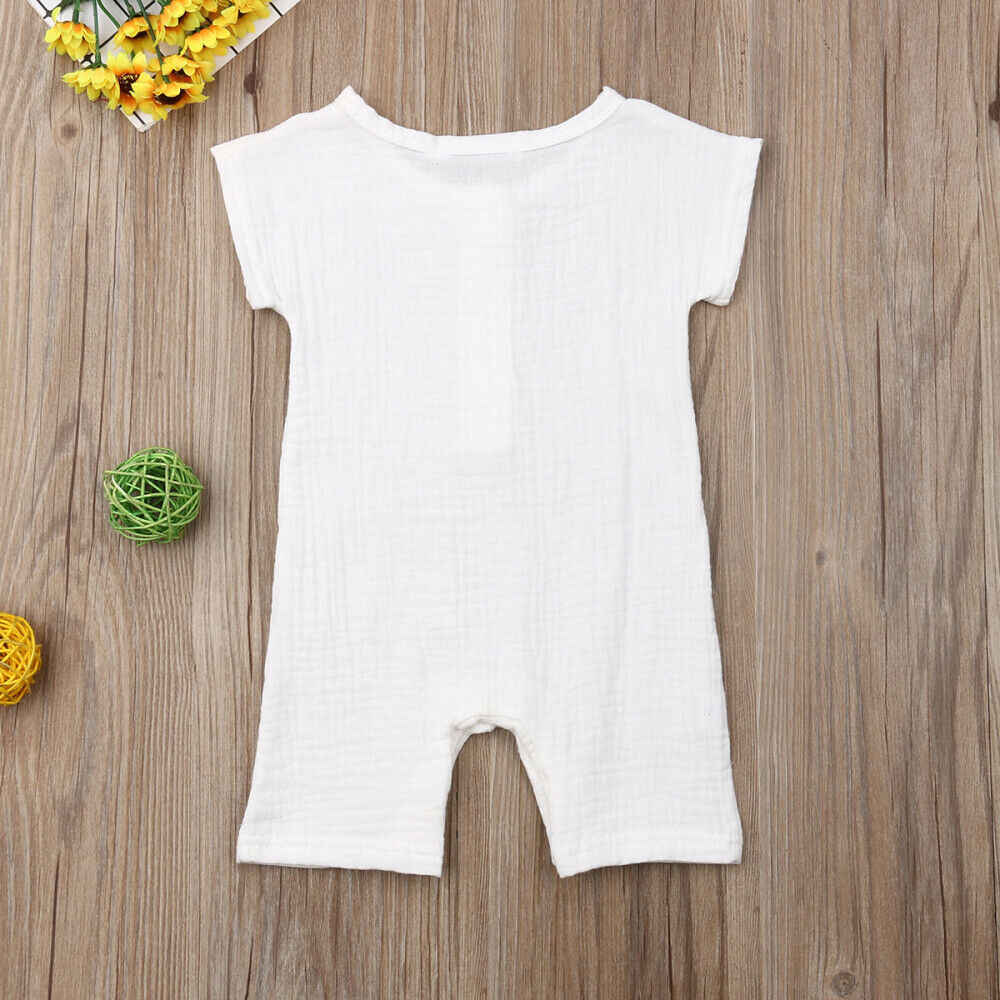 2019 Baby Summer Clothing Toddler Baby Boys Girls Cotton Linen Romper Solid Short Sleeve Jumpsuit Casual One-Pieces Playsuits