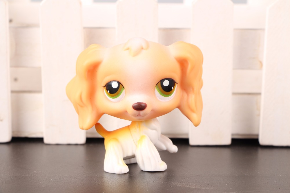 New Pet Collection Figure LPS #79 Cocker Dog Spaniel Tan White Blond Yellow Green Eye Kids Toys