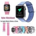 Estilo casual de luxo para a apple watch banda colorida de nylon cinta iwatch 38mm 42mm pulseira com conector do adaptador